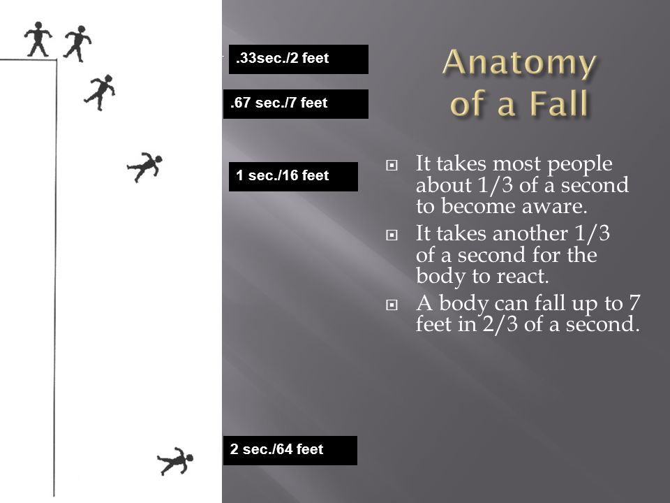 Anatomy of a Fall .33sec./2 feet. .67 sec./7 feet. It takes most people about 1/3 of a second to become aware.