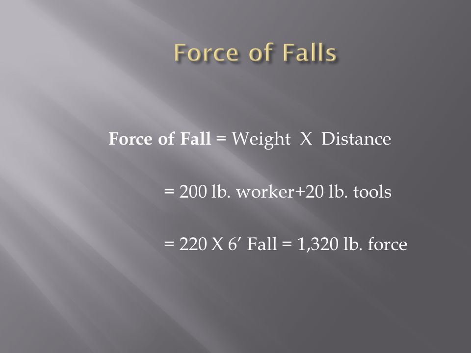 Force of Falls Force of Fall = Weight X Distance = 200 lb.