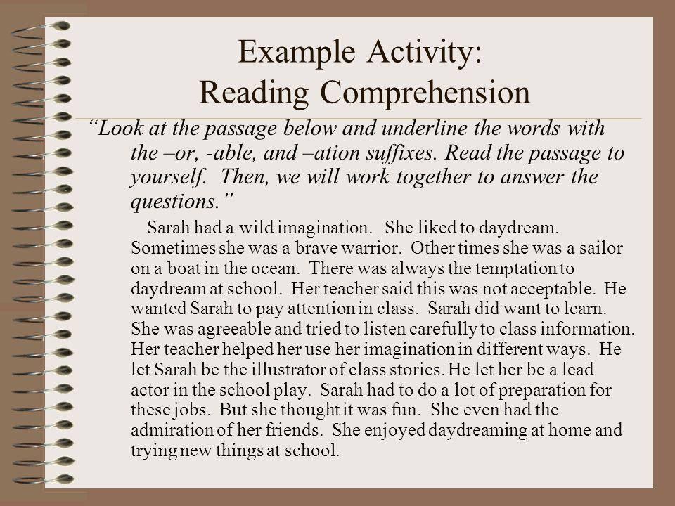 Example Activity: Reading Comprehension