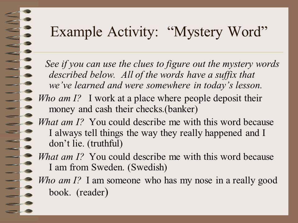 Example Activity: Mystery Word