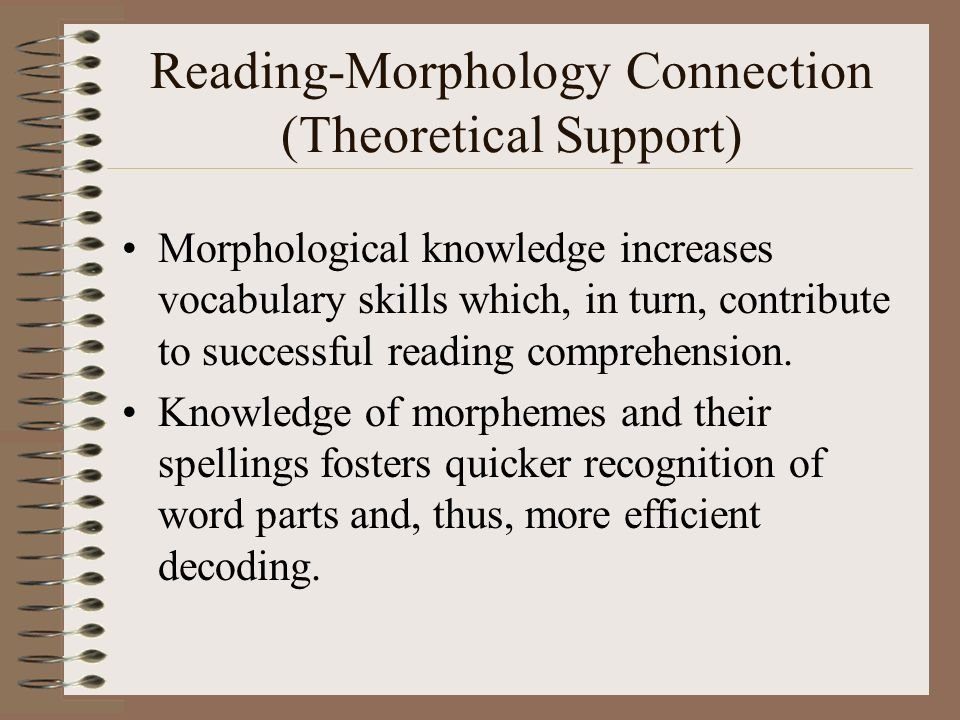 Reading-Morphology Connection (Theoretical Support)