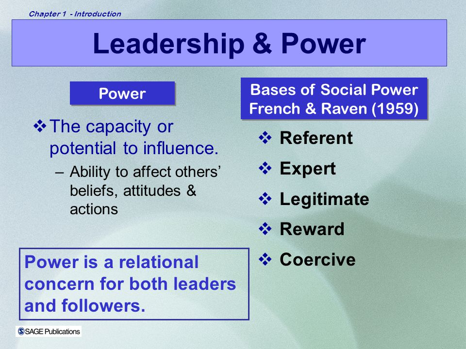 Leadership & Power The capacity or potential to influence. Referent