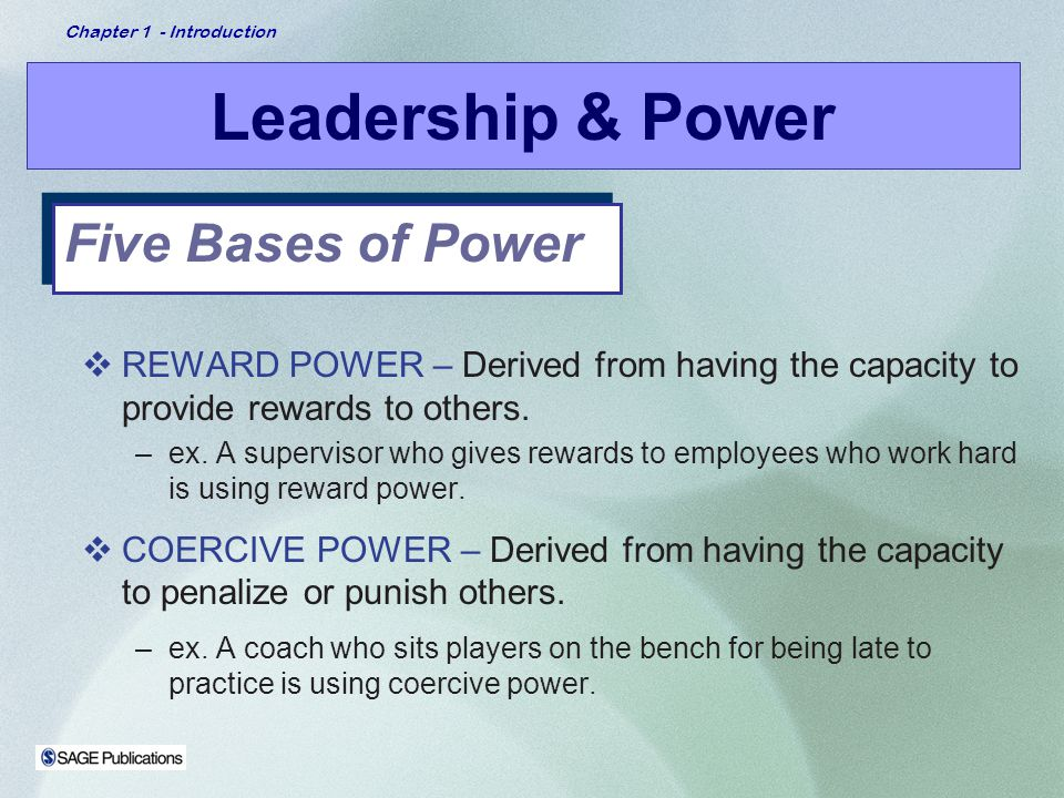 Leadership & Power Five Bases of Power