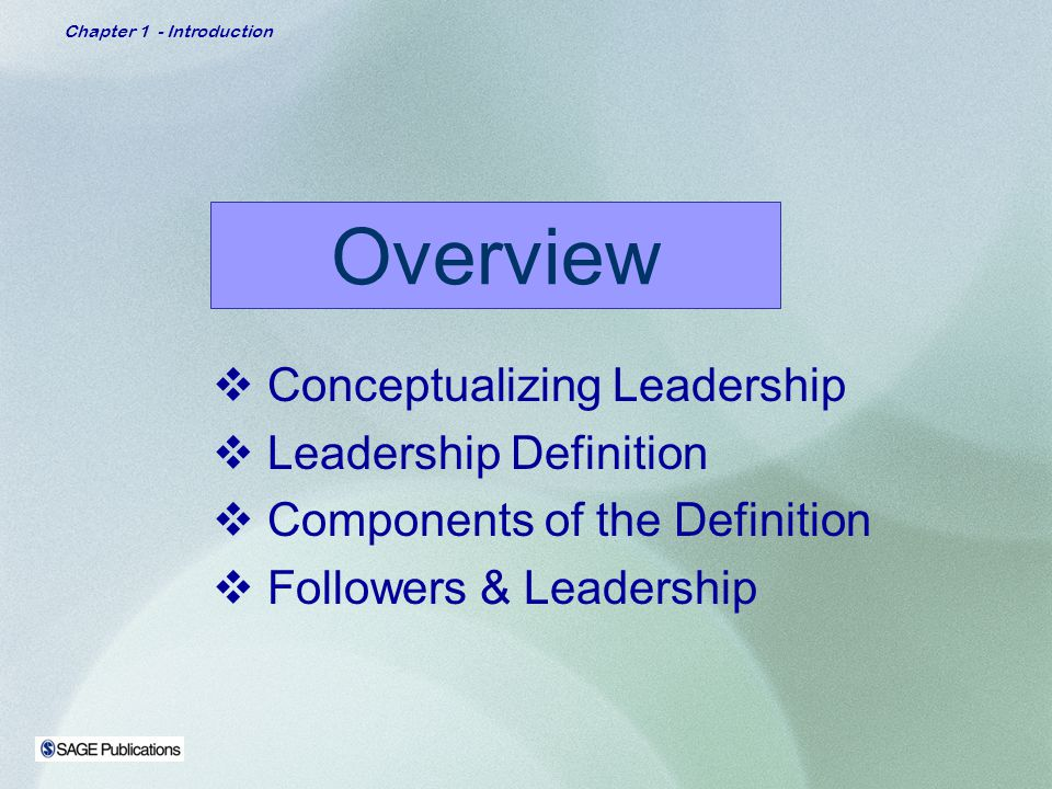 Overview Conceptualizing Leadership Leadership Definition