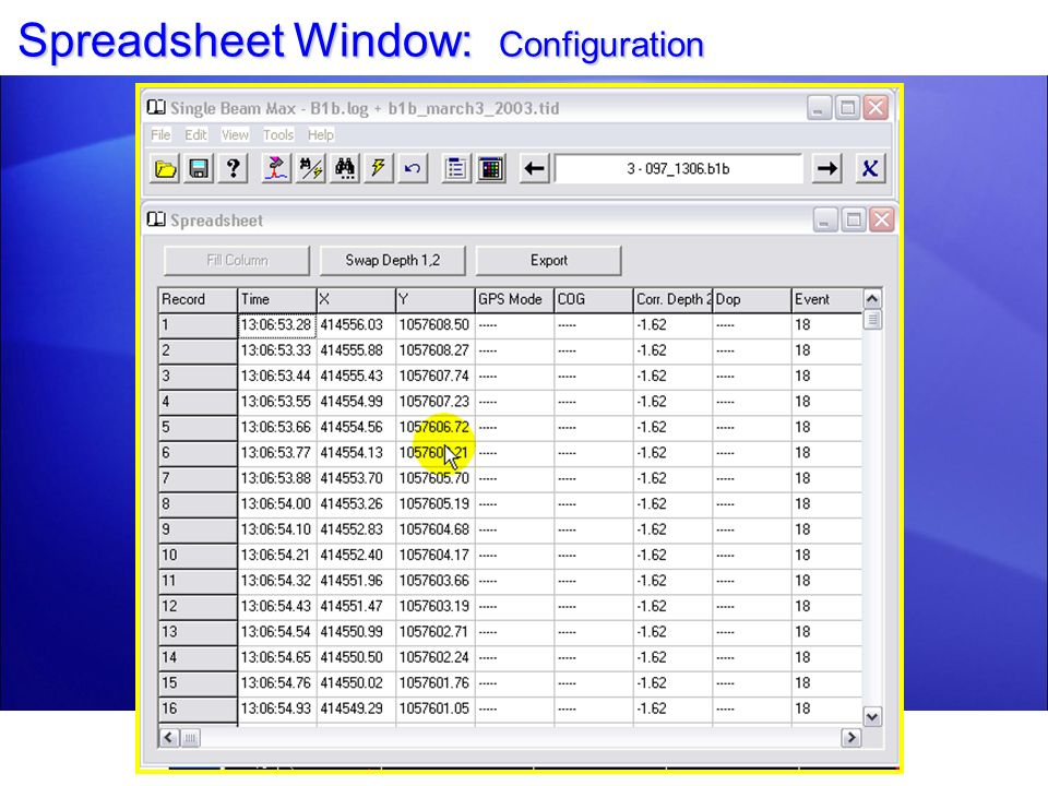 Spreadsheet Window: Configuration