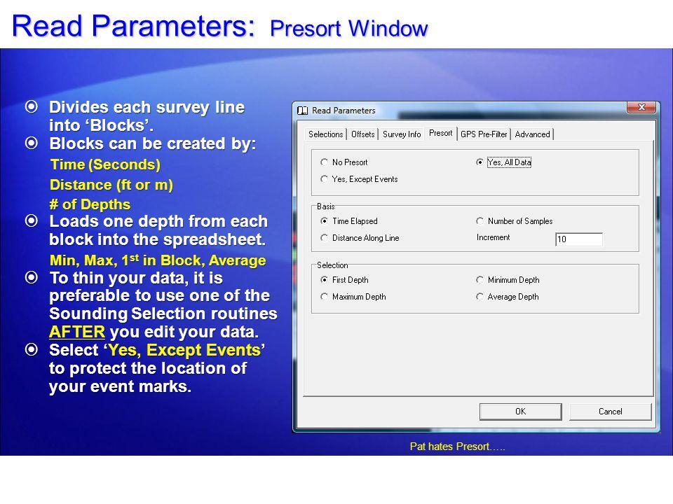 Read Parameters: Presort Window
