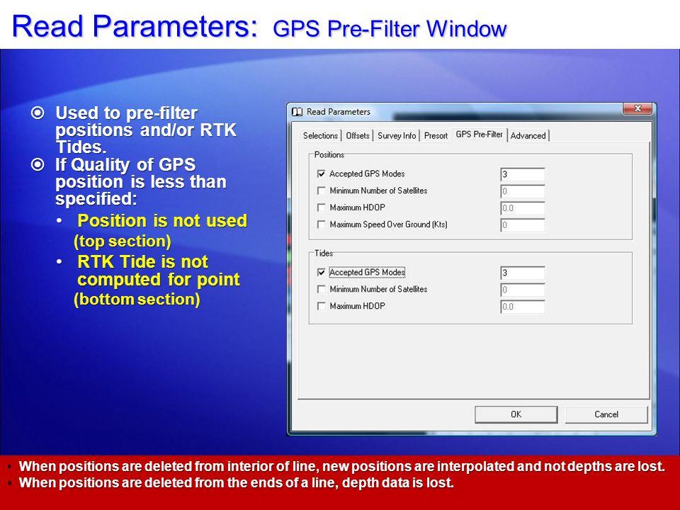 Read Parameters: GPS Pre-Filter Window