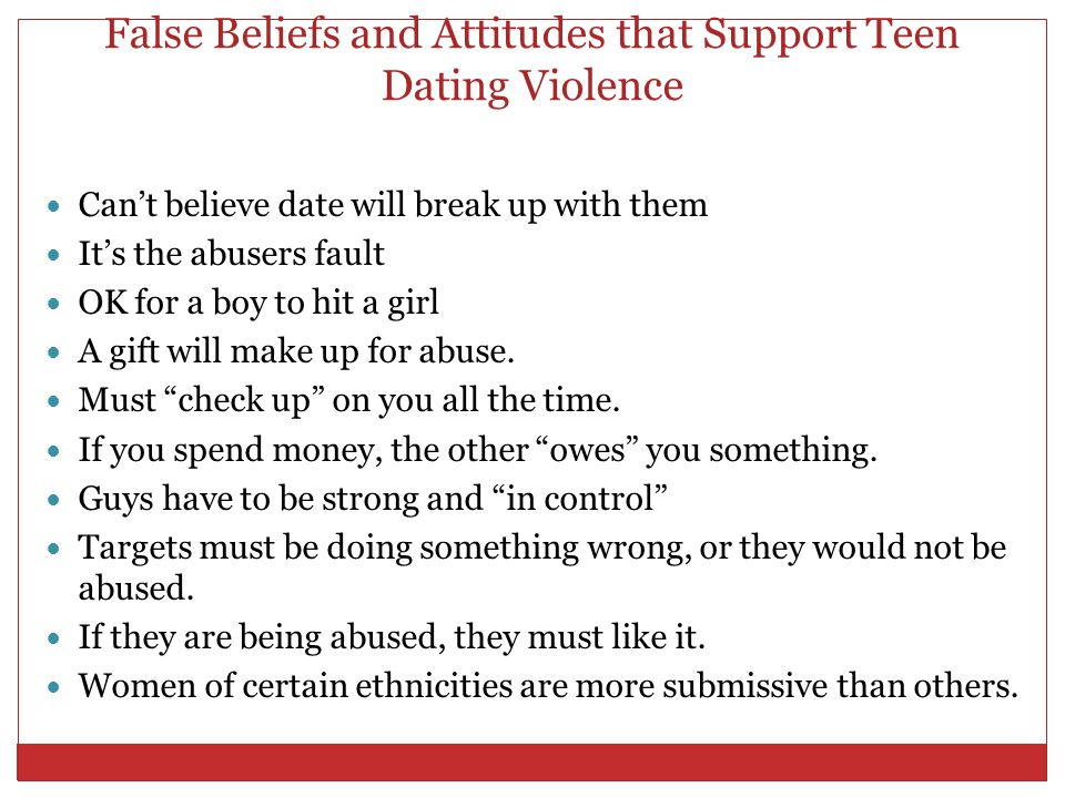 False Beliefs and Attitudes that Support Teen Dating Violence