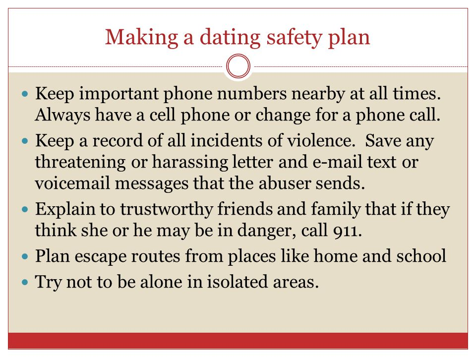 Making a dating safety plan