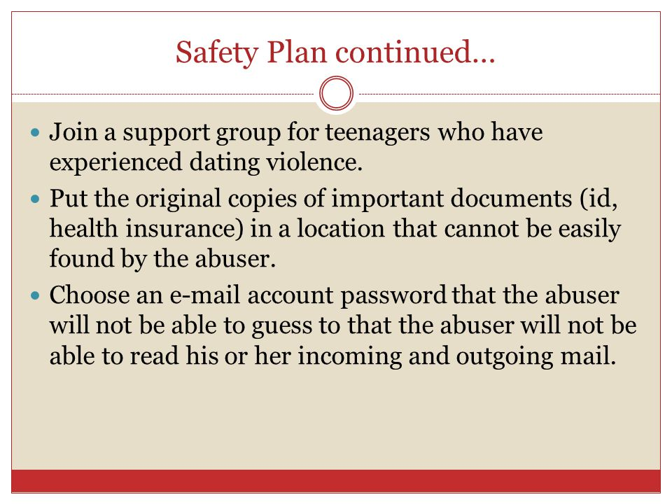 Safety Plan continued…