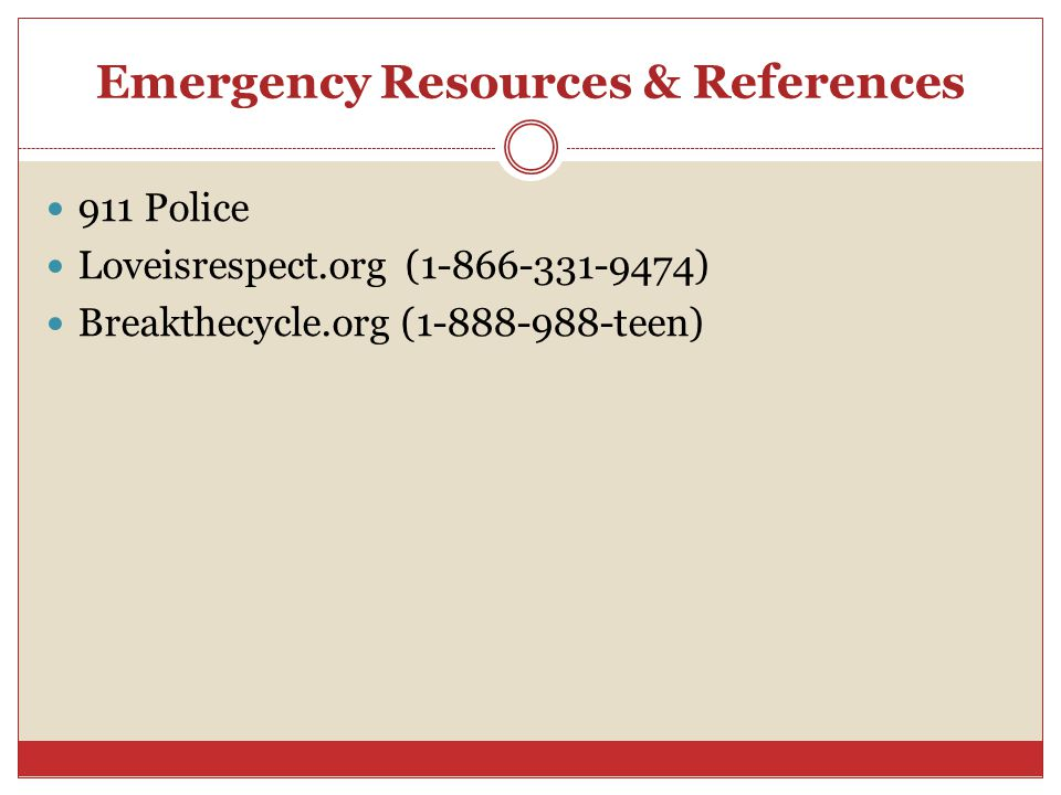 Emergency Resources & References