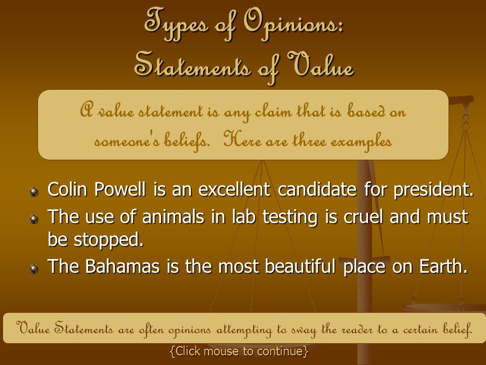 Types of Opinions: Statements of Value