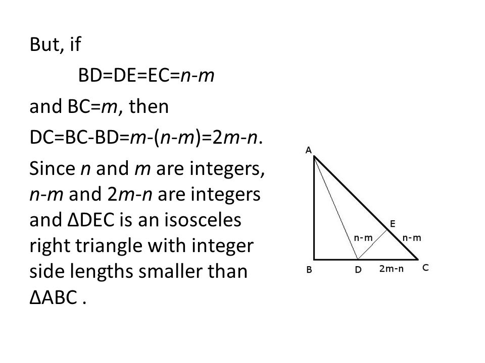 But, if BD=DE=EC=n-m. and BC=m, then. DC=BC-BD=m-(n-m)=2m-n.