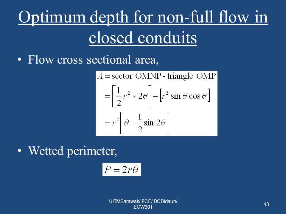 Optimum depth for non-full flow in closed conduits