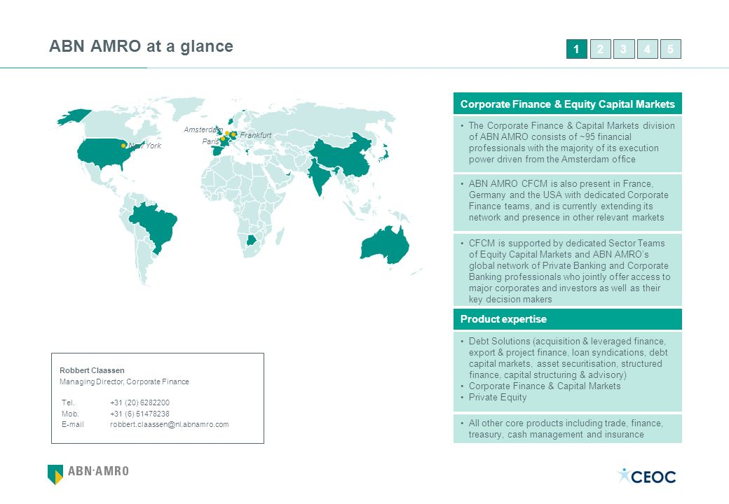 ABN AMRO at a glance 1. 2. 3. 4. 5. Corporate Finance & Equity Capital Markets.
