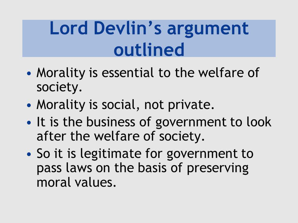 Lord Devlin's argument outlined