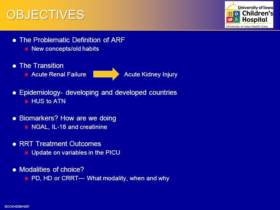 OBJECTIVES The Problematic Definition of ARF The Transition