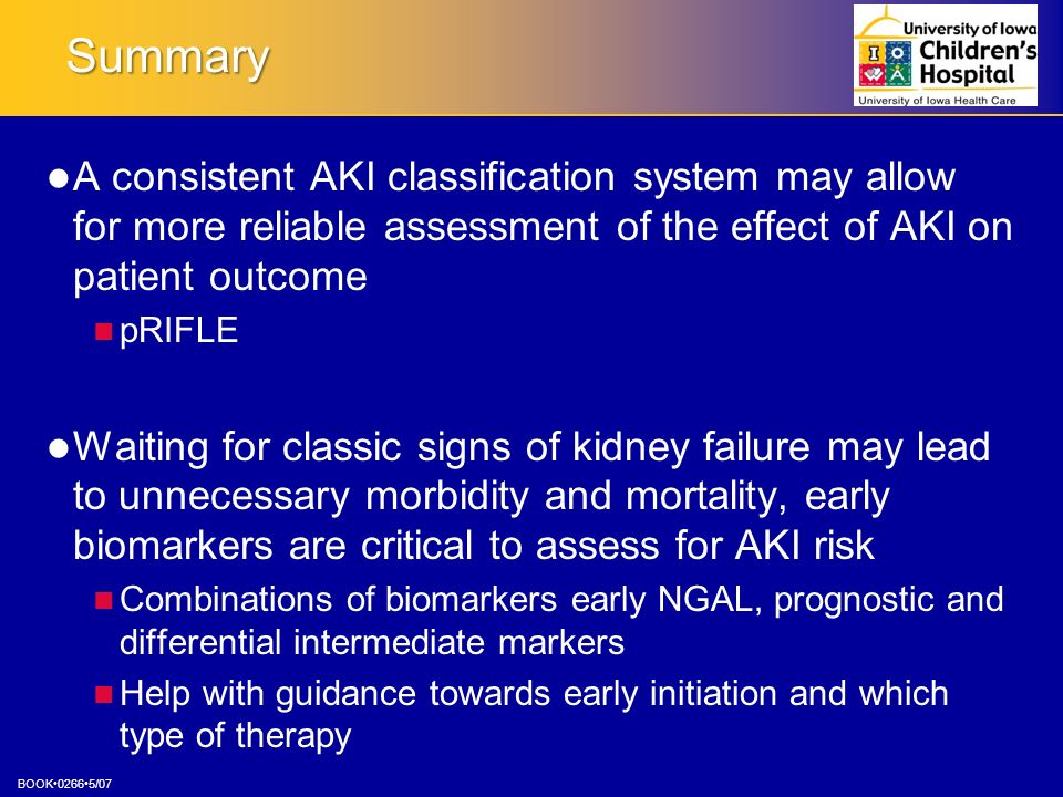 Summary A consistent AKI classification system may allow for more reliable assessment of the effect of AKI on patient outcome.