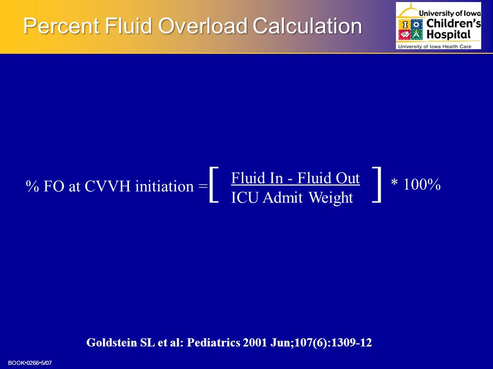 Percent Fluid Overload Calculation