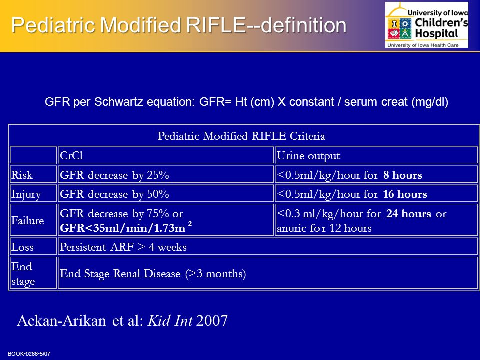 Pediatric Modified RIFLE--definition