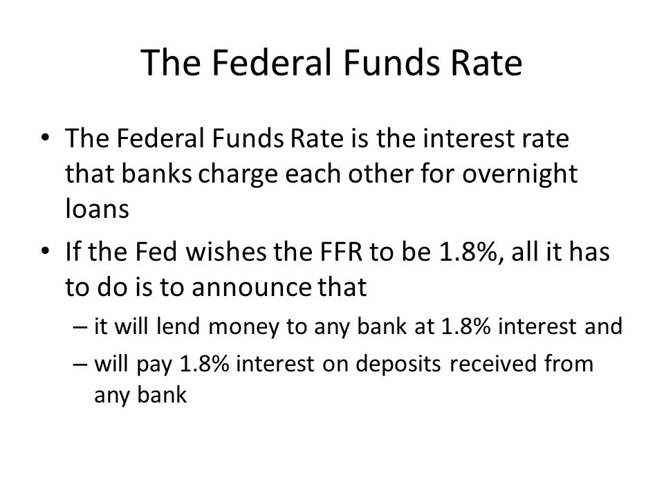 The Federal Funds Rate The Federal Funds Rate is the interest rate that banks charge each other for overnight loans.