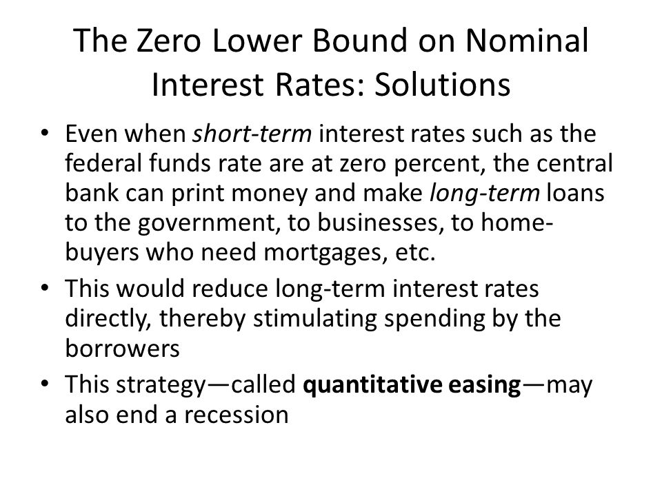The Zero Lower Bound on Nominal Interest Rates: Solutions