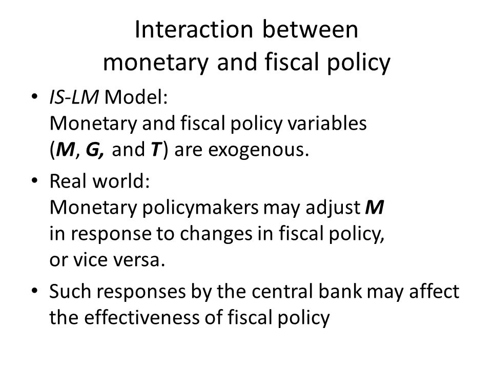 Interaction between monetary and fiscal policy