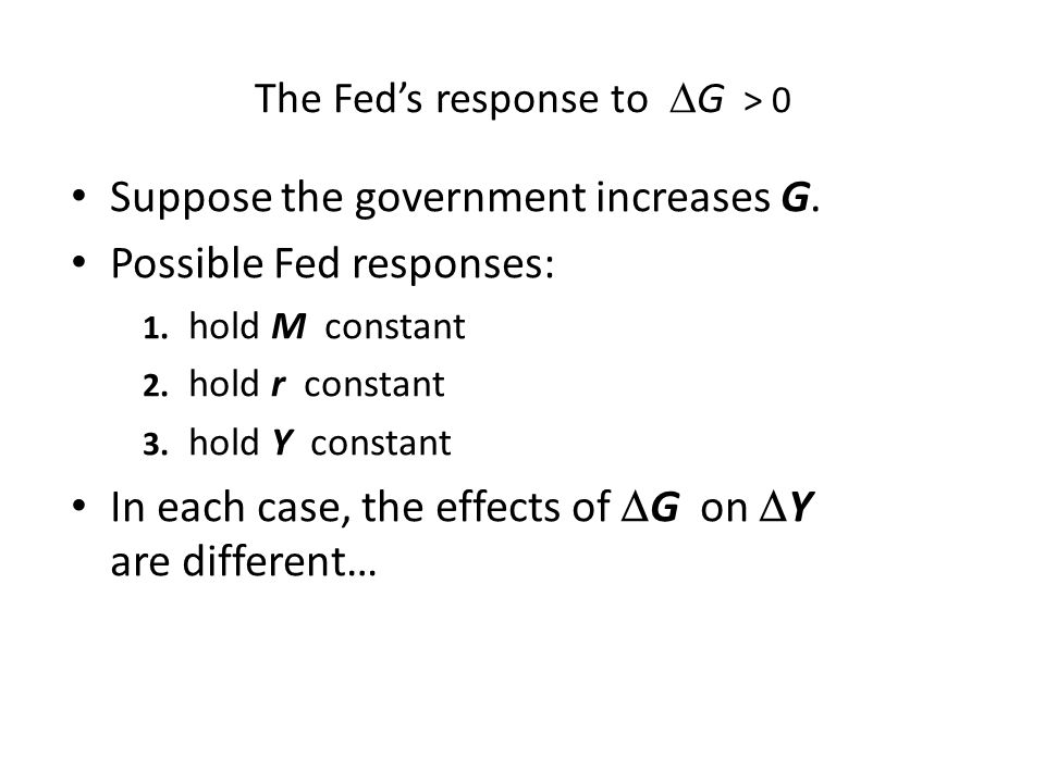 The Fed's response to G > 0