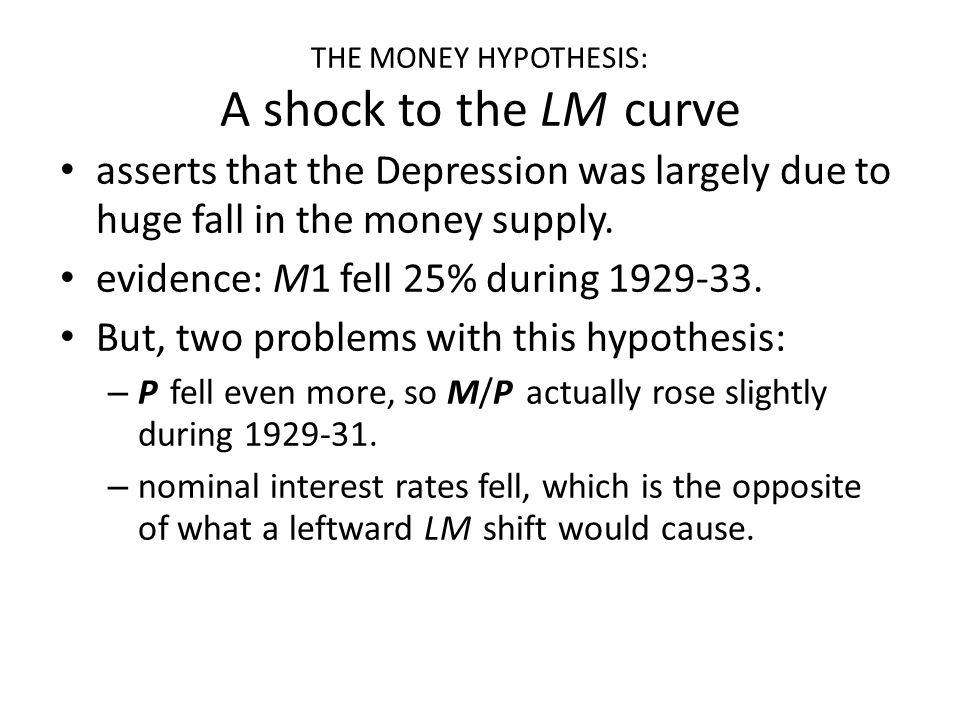 THE MONEY HYPOTHESIS: A shock to the LM curve