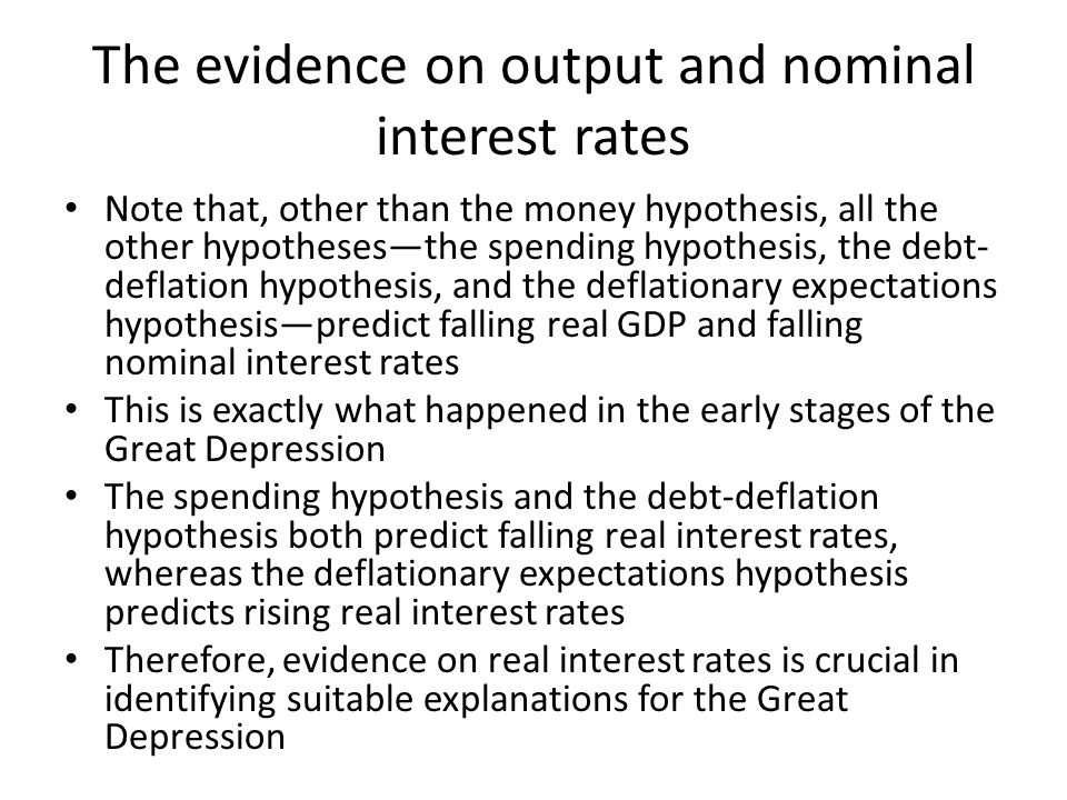 The evidence on output and nominal interest rates