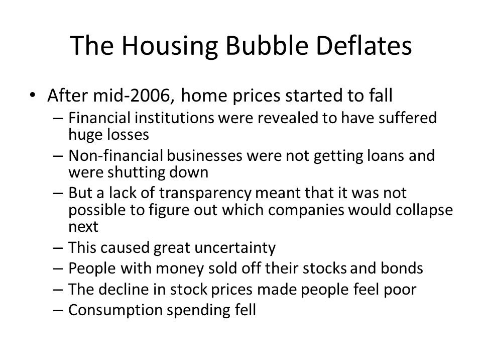 The Housing Bubble Deflates