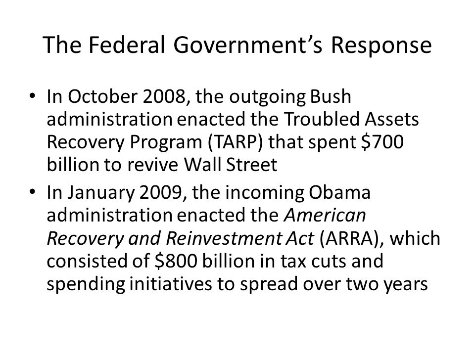 The Federal Government's Response