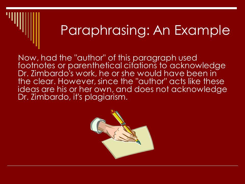 Paraphrasing: An Example