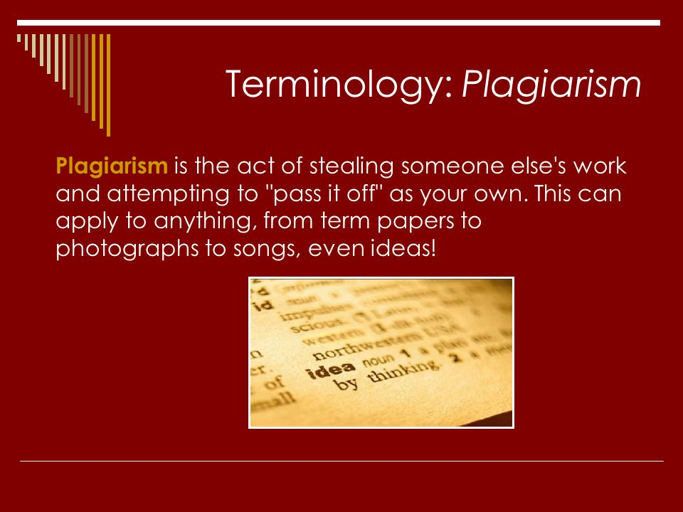 Terminology: Plagiarism