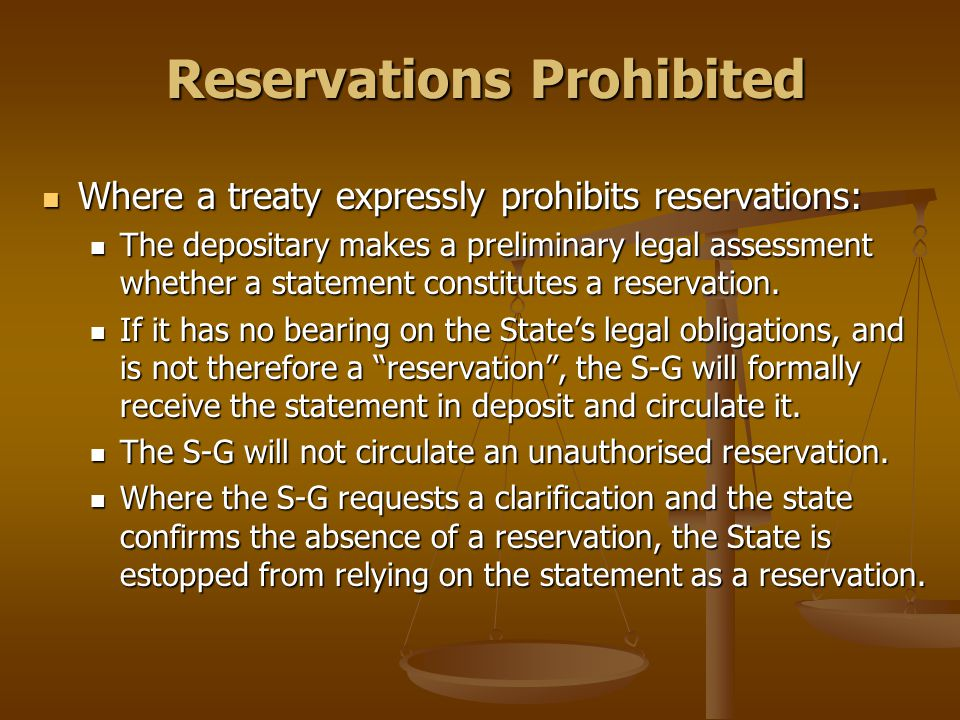 Reservations Prohibited