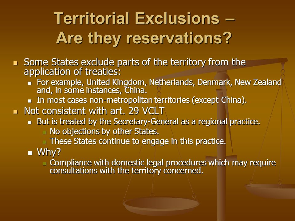Territorial Exclusions – Are they reservations