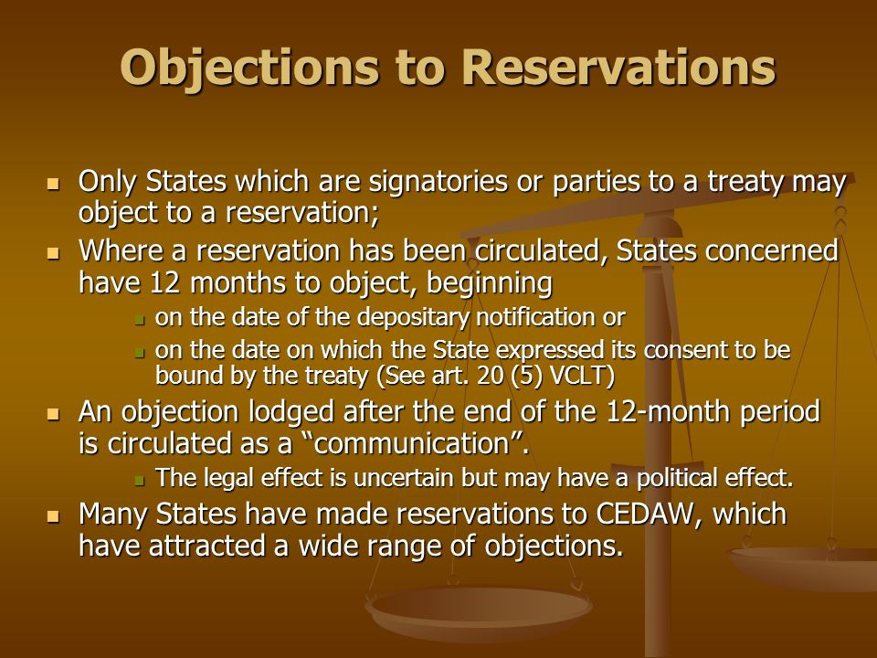 Objections to Reservations