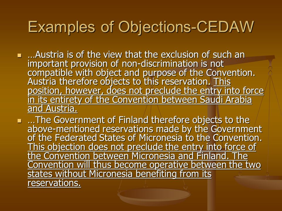 Examples of Objections-CEDAW