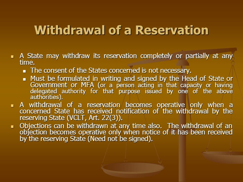Withdrawal of a Reservation