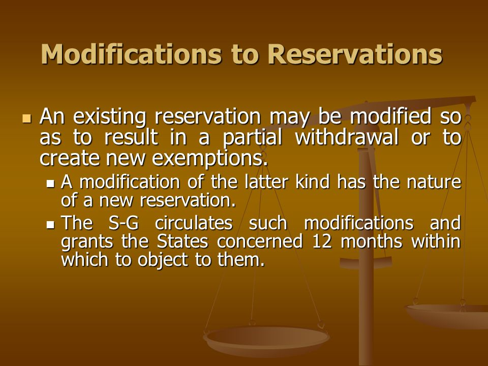 Modifications to Reservations