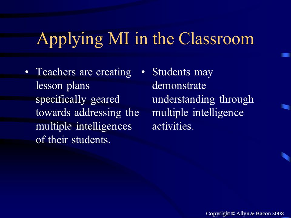 Applying MI in the Classroom
