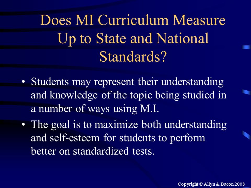 Does MI Curriculum Measure Up to State and National Standards