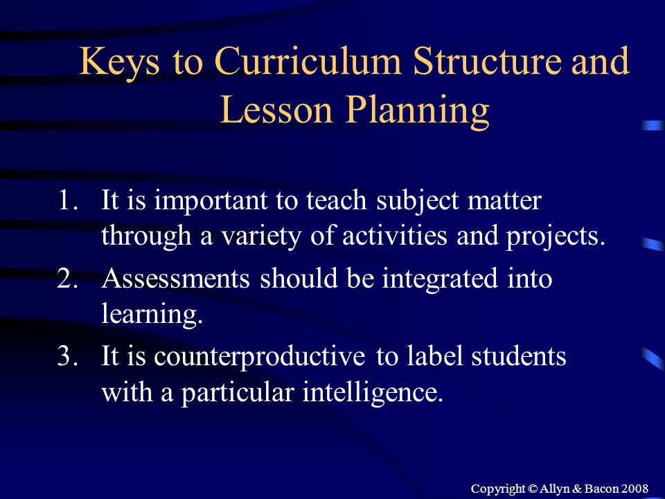 Keys to Curriculum Structure and Lesson Planning