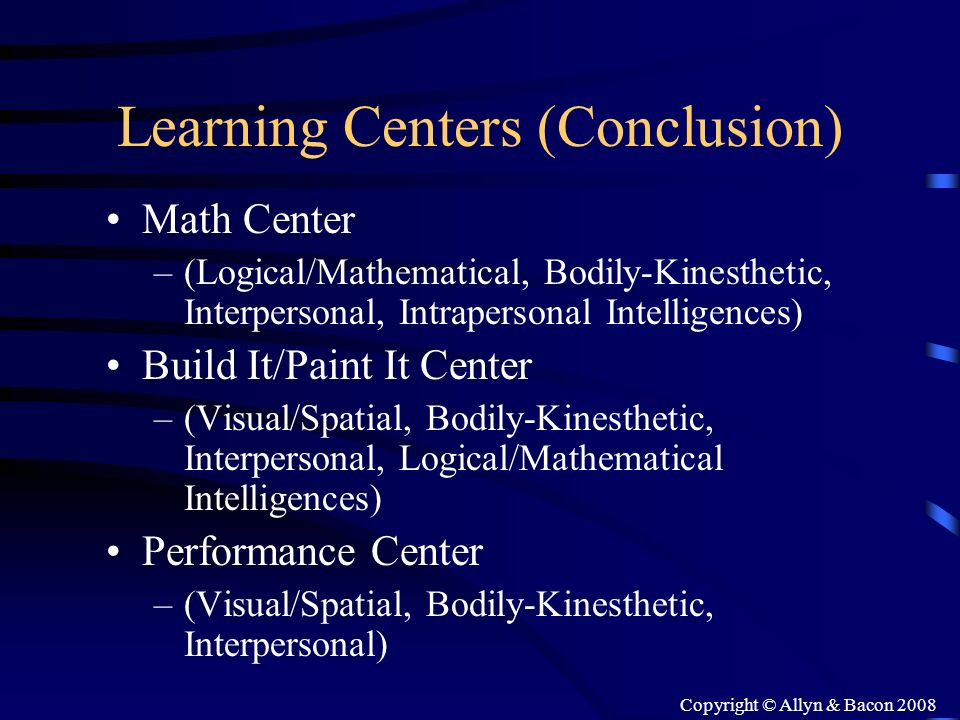Learning Centers (Conclusion)