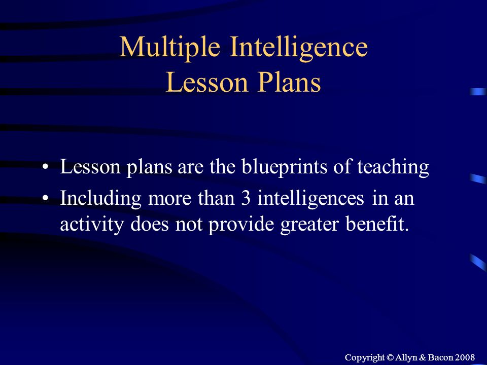 Multiple Intelligence Lesson Plans