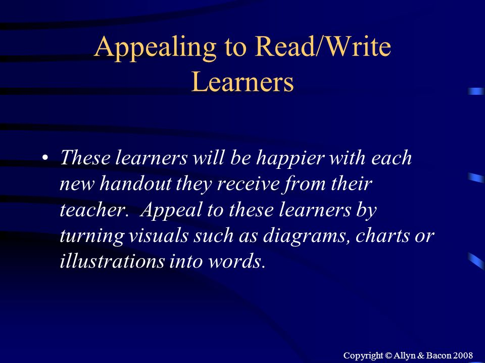 Appealing to Read/Write Learners