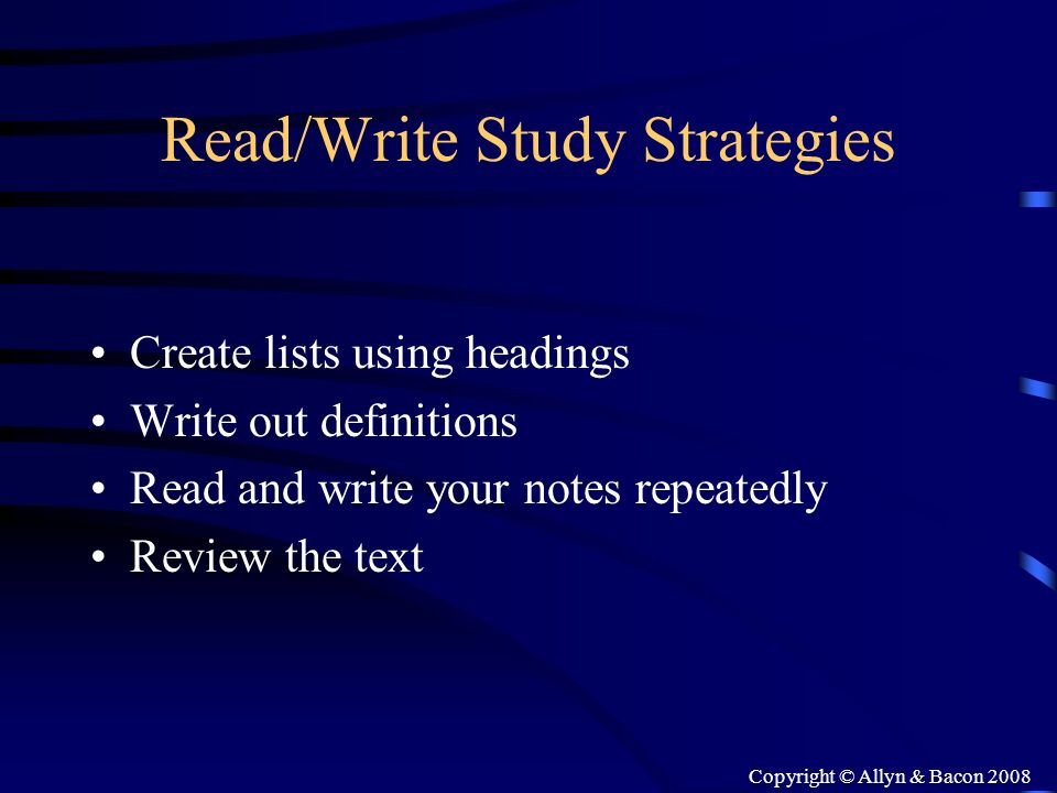 Read/Write Study Strategies