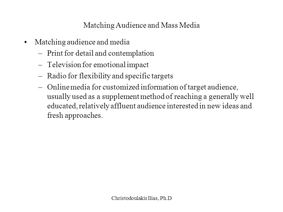 Matching Audience and Mass Media