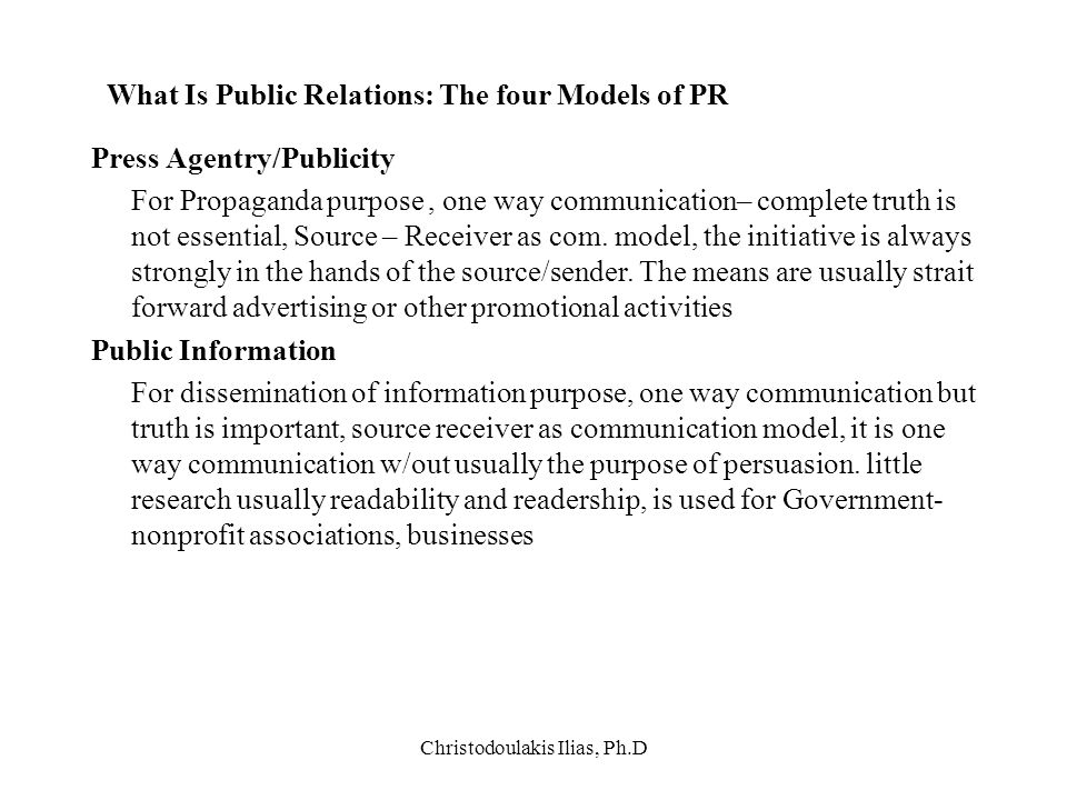 What Is Public Relations: The four Models of PR
