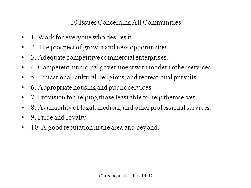 10 Issues Concerning All Communities